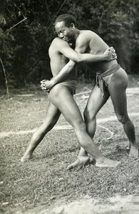 Indochina Laos Vientiane Wrestlers old Amateur Snapshot Photo ca 1930