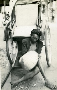 Indochina Laos Vientiane Rickshaw old Amateur Snapshot Photo 1930