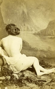 France Paris Second Empire Nude Woman Back Cocodette Old CDV Photo 1865