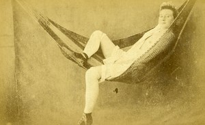France Paris Second Empire Semi Nude Woman Hammock Old CDV Photo Locart 1865