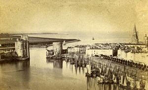 France La Rochelle Harbour Entry Old Tallon Larente CDV Photo 1870