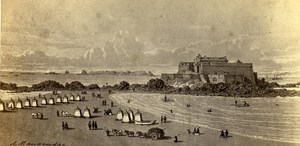 France Saint Malo Fort Imperial Old Maugendre CDV Photo of Drawing 1860