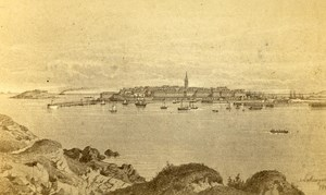 France Saint Malo Panorama Old Maugendre CDV Photo of Drawing 1860