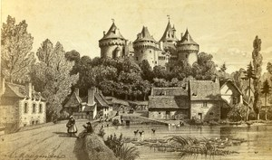 France Castle of Combourg Old Maugendre CDV Photo of Drawing 1860