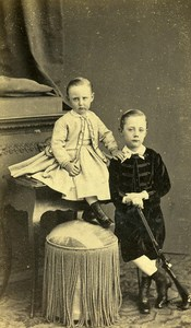 France Lille Boys Rifle Fashion Second Empire Place Old CDV Carette Photo 1870
