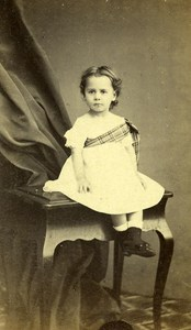 France Lille Child Fashion Second Empire Old CDV Carette Photo 1870