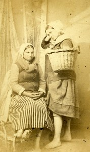 France Boulogne sur Mer Fisherwomen Old CDV Louis de Mauny Photo 1870