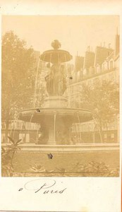 Fountain place, Paris, old CDV Photo 1860