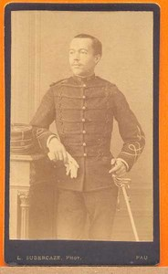 Military Soldier, French Army, Pau, old Photo CDV 1880