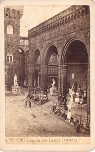 Italy Firenze Loggia del Lanzi old Photo CDV 1870'