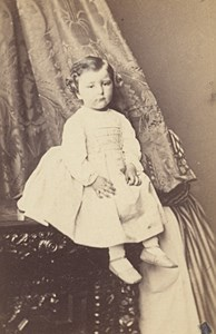 Baby Fashion Nurse behind Tapestry Paris CDV Photo 1865