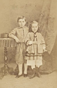 Boy & Girl in Studio Fashion France Old CDV Photo 1865