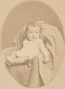 Young Baby seated Fashion France Old CDV Photo 1865