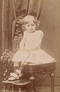 Young Baby seated Fashion France Old CDV Photo 1885
