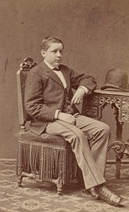 Young Boy seated Hat Fashion Belgium Old CDV Photo 1875