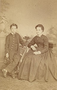 Mother & School Child Fashion France Old CDV Photo 1865