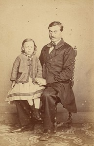 Father & child seated Fashion France Old CDV Photo 1865