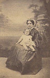 Mother & Child seated Fashion Nantes Old CDV Photo 1865