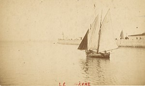 France old CDV Photo 1880 Le Havre Harbour Sailboat