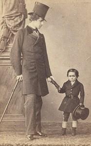 Dwarf Kahn Dot Barnum Circus World Fair CDV Photo 1867