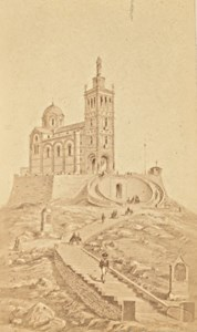 Marseille Notre Dame de la Garde Old CDV Photo Drawing 1875