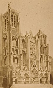 Bourges Cathedral Facade Cher France Old CDV Photo 1875