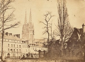 Quimper Odet River Finistere France Old CDV Photo 1865