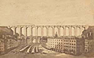 Morlaix Market Viaduct Finistere France CDV Photo 1865