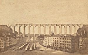 Morlaix Market Viaduct Finistere France CDV Photo 1865