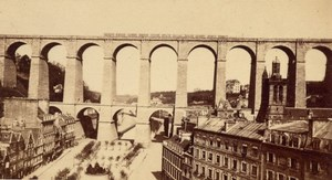 Morlaix Viaduct Train Finistere France CDV Photo 1865