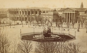 Nimes Esplanade Fountain Gard France Old CDV Photo 1875