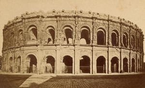 Nimes Amphitheater Gard France Old CDV Photo 1875