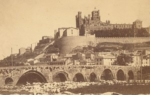 Beziers Panorama Herault France Old CDV Photo 1865