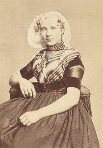 Netherlands Woman Traditional Fashion CDV Photo 1875