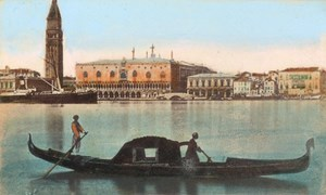 Italy Venezia Gondola Old CDV Photo Hand Colored 1875