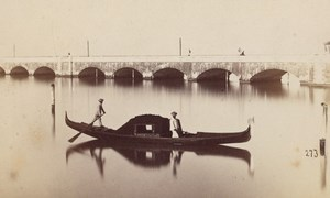 Venezia Gondola Train Bridge Italy Old CDV Photo 1868