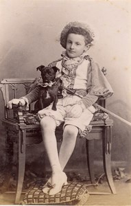 Boy in Costume Dog Scene de Genre France Old Delaporte Photo 1900