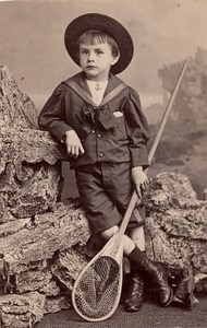 Fishing Net Boy Scene de Genre France Old Delaporte Photo 1900