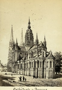 France Maugendre Drawing of Bayeux Cathedral old CDV Photo Desroches 1865