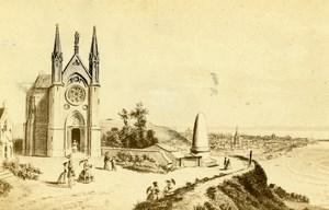 France Drawing of Le Havre Notre Dame des Flots old CDV Photo Morier 1865