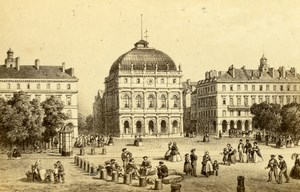 France Drawing of Le Havre Theater Place old CDV Photo Morier 1865