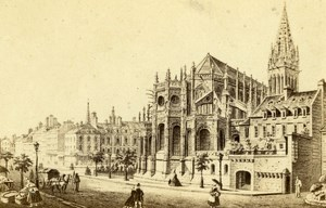 France Drawing of Church St Peter Caen old CDV Photo Morier 1865