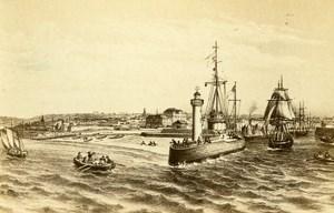 France Drawing of Le Havre Harbor old CDV Photo Morier 1865