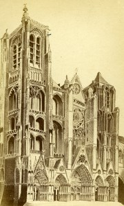 France Drawing Bourges Cathedral old CDV Photo Poupat 1865