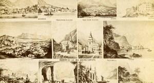 Switzerland Drawing Lake Lucerne old CDV Photo anonymous 1865