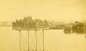 France Dinard Harbor panorama old CDV Photo Ordinaire 1870