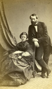 France Paris Couple Mr & Ms de Kirwan Fashion old CDV Photo Bisson 1860's