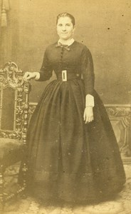 France Paris Woman Second Empire Fashion old CDV Photo de la Mare 1860's