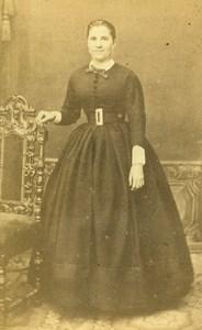 France Paris Woman Second Empire Fashion old CDV Photo de la Mare 1860's
