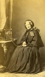 France Strasburg Woman Second Empire Fashion old CDV Photo Winter 1860's